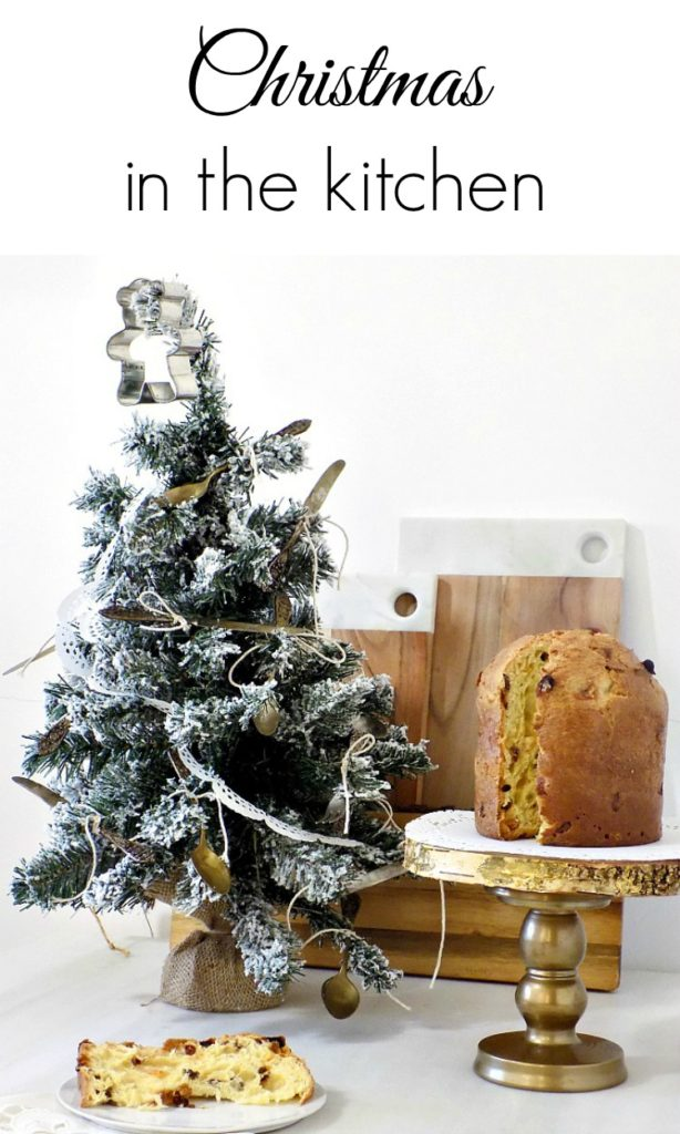 Vintage christmas tree in the kitchen