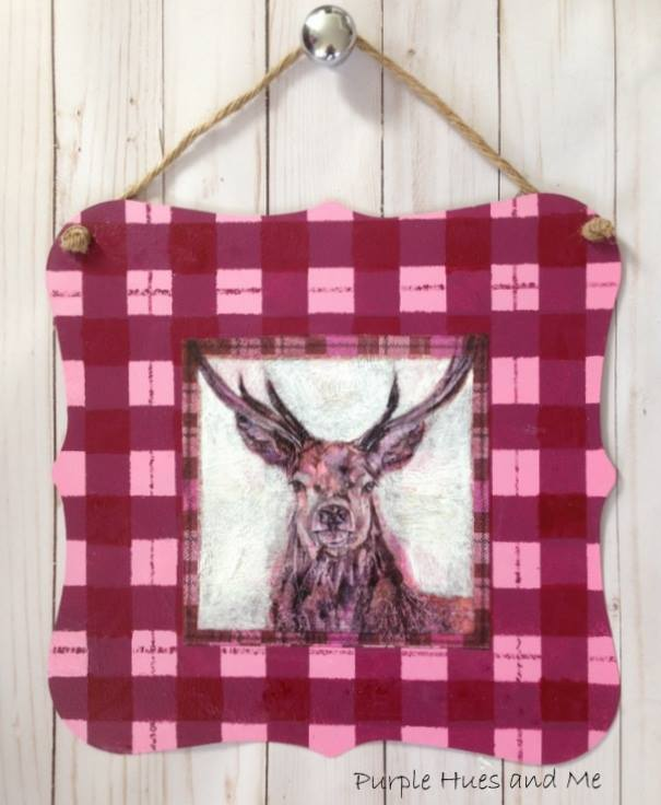Sweet Inspiration Link Party 140, checkered plaid deer plaque diy