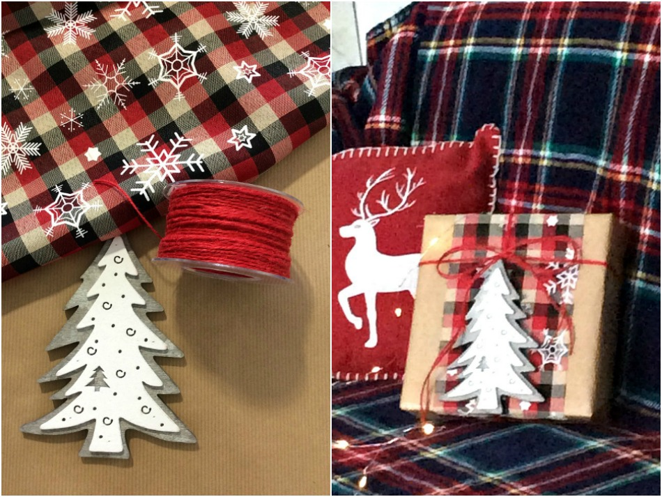 Christmas gift wrapping ideas plaid cover wooden christmas tree