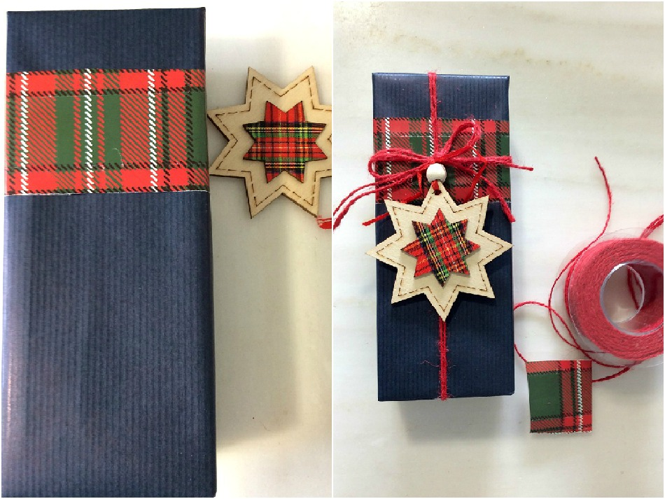 Dark blue wrapping paper wooden ornament with plaid details