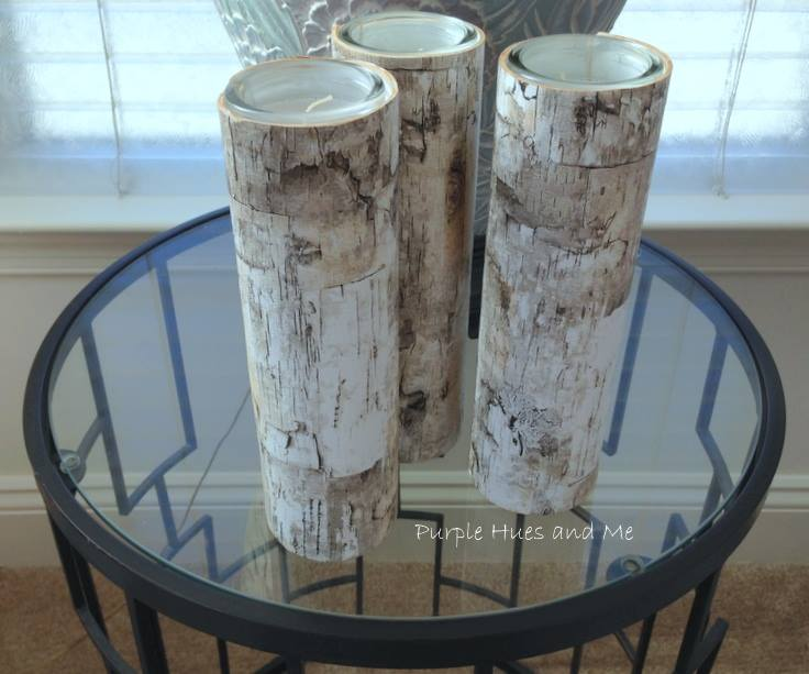 Sweet Inspiration Link party 138, faux birch bark candleholders