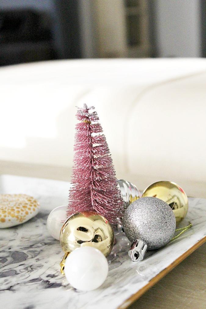 Christmas home tour 2017,  Ροζ και χρυσό χριστουγεννιάτικη διακόσμηση