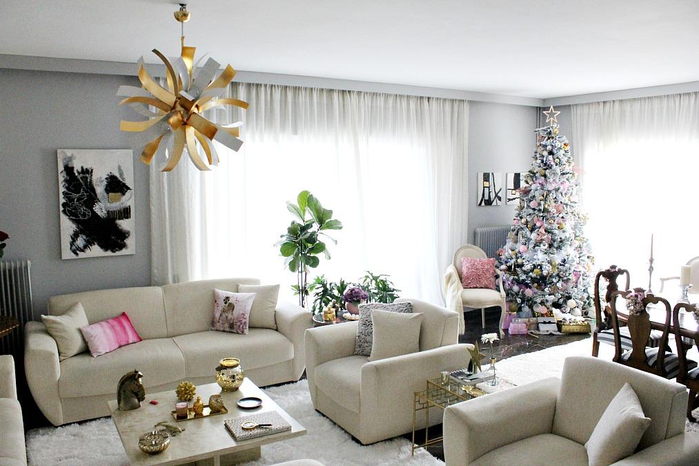 Christmas home tour 2017, Τα ροζ Χριστούγεννα