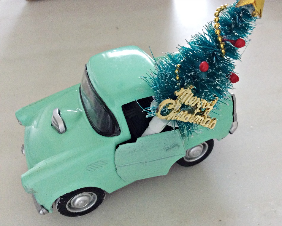 Vintage little truck mini christmas tree