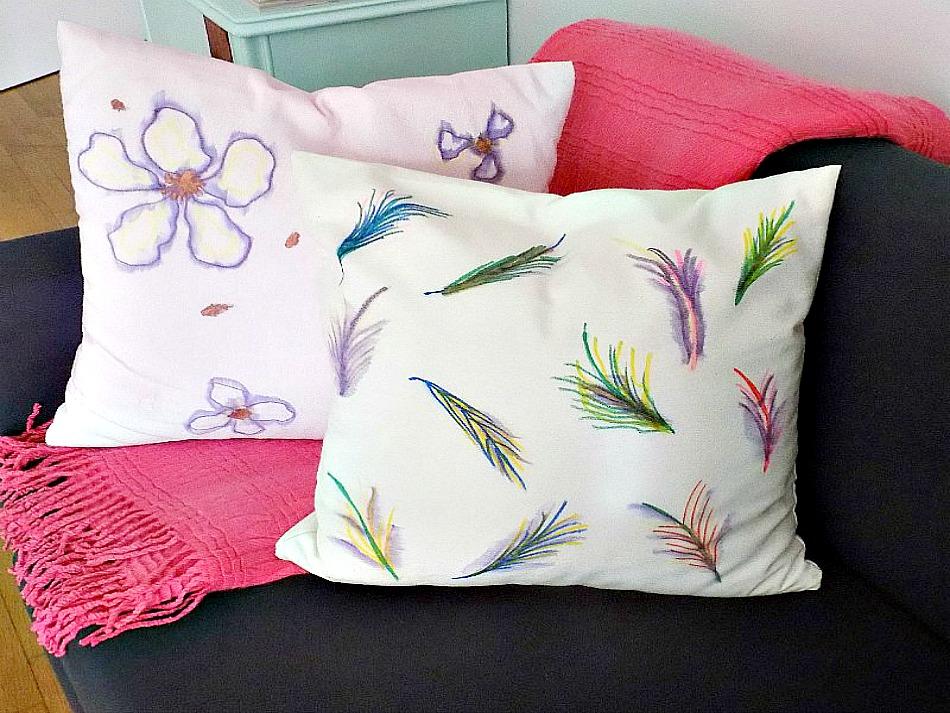 Ιδέες για διακοσμητικές θήκες μαξιλαριών diy, watercolored pillows