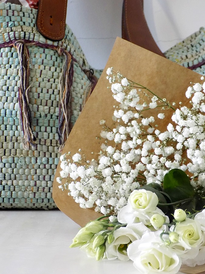 Rag rug bag diy, flowers