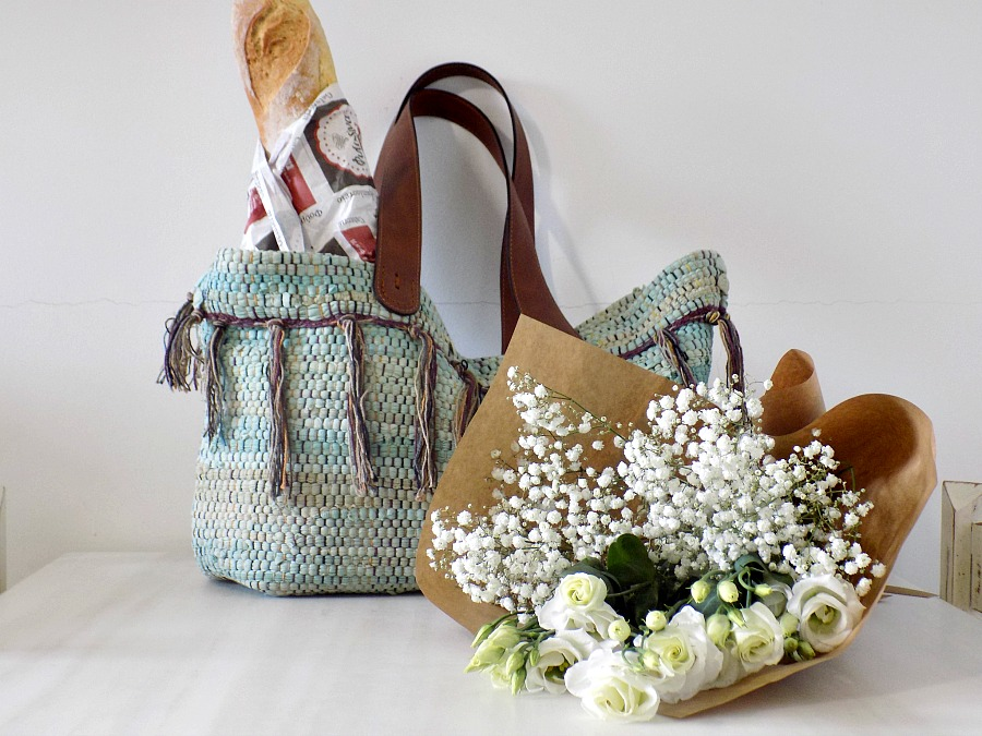 Boho τσάντα από κουρελού, Rag rug bag diy, groceries, flowers