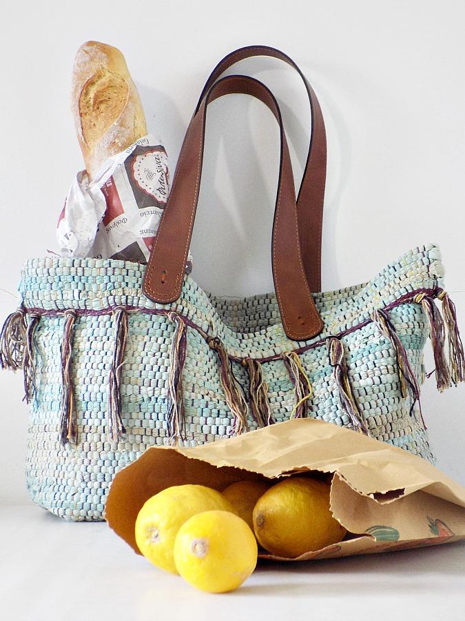 Boho τσάντα από κουρελού, Rag rug bag diy, groceries