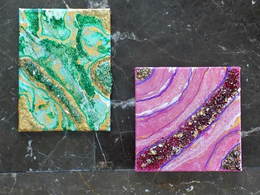 Resin coating on acrylic paint