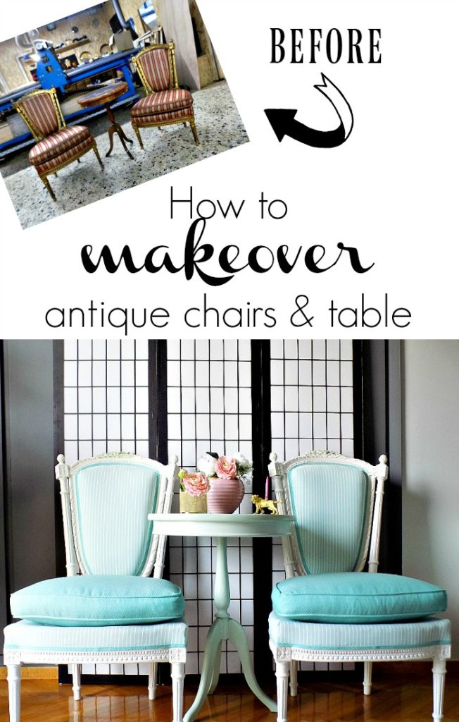 Gorgeous makeover for antique chairs and table