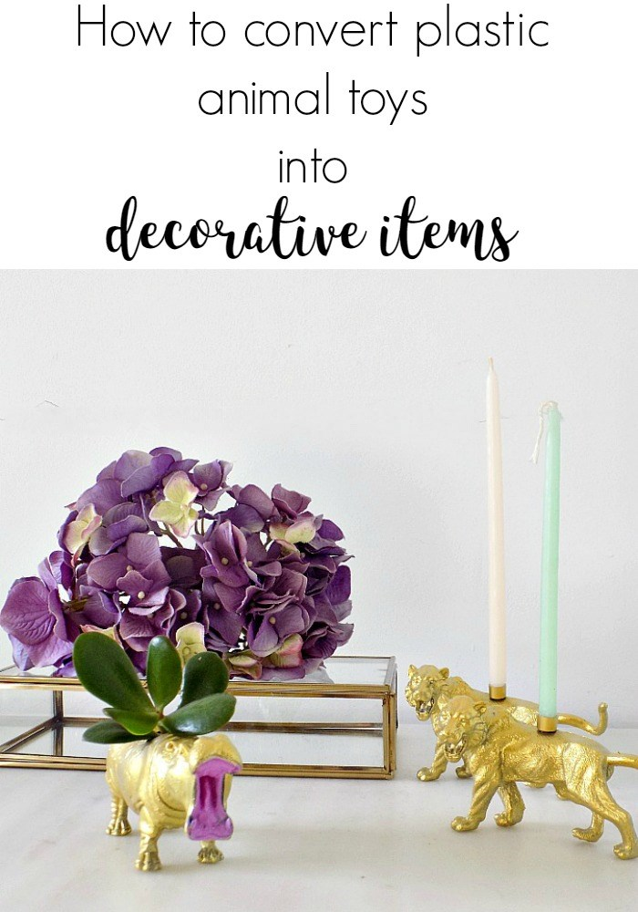 How to convert plastic animal toys into decorative items