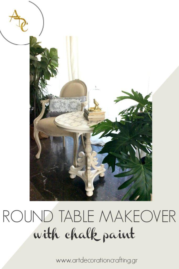 Αναπαλαίωση τραπεζιού με chalk paint και στένσιλ - Round table makeover with chalk paint and stencil