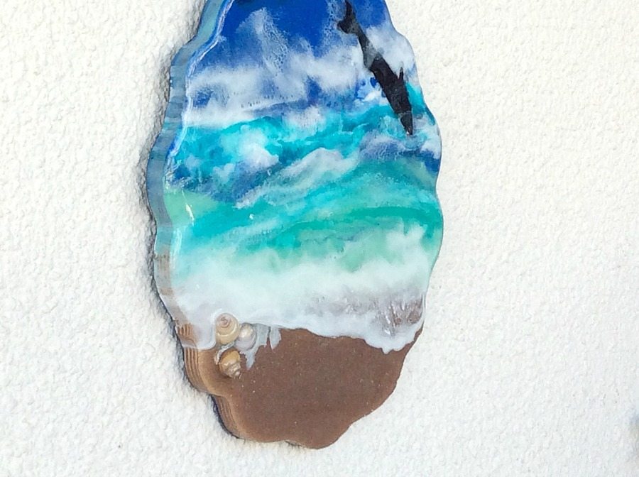 Tropical beach resin art