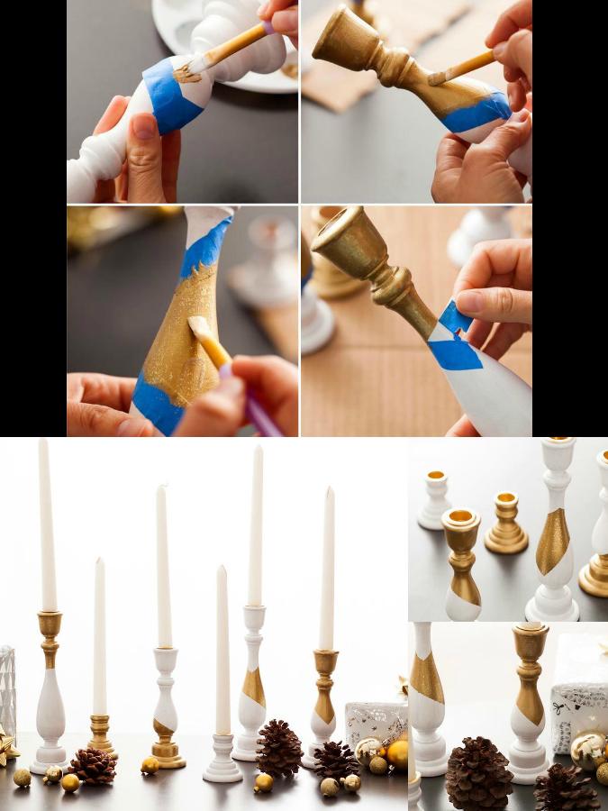 Ξύλινα κηροπήγια βαμένα με acualux χρυσό