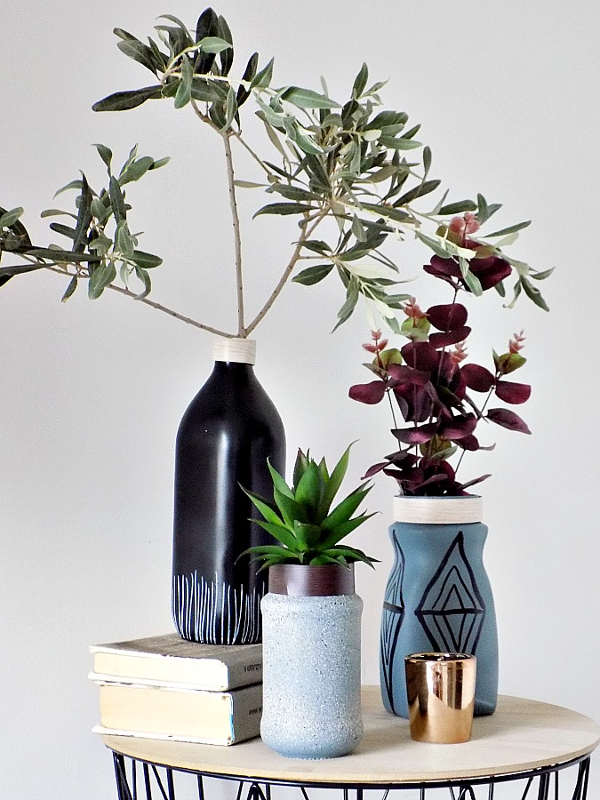 Minimal flower vases, olive branch
