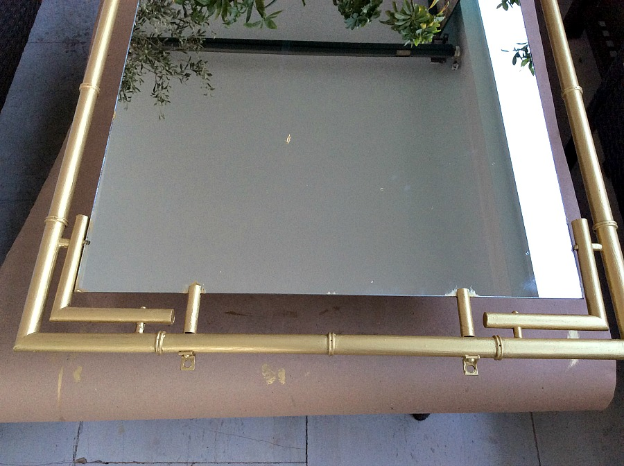 Gold metalic bamboo mirror