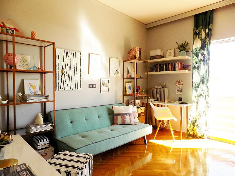 Το γραφείο μου στο σπίτι όπως είναι τώρα, μεντί καναπές, ΙΚΕΑ vittsjo βιβλιοθήκες