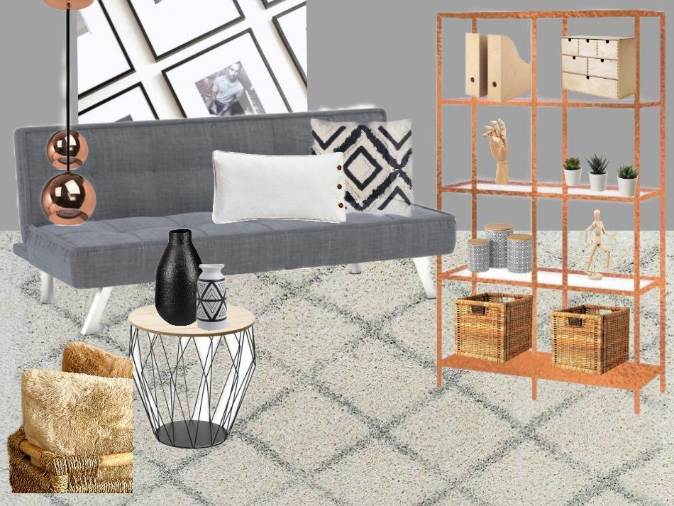 Contemporary style για το γραφείο στο σπίτι, ο καναπές και η βιβλιοθήκη
