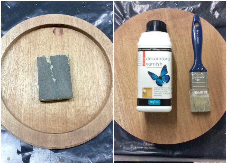 Προετοιμασία ξύλινου δίσκου, τρίψιμο και βερνίκι