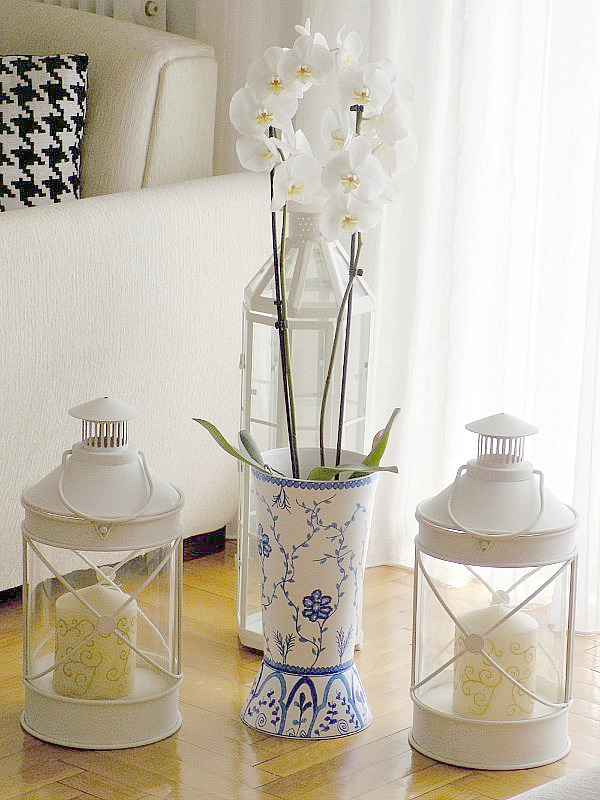 White orchid in diy chinoiserie vase