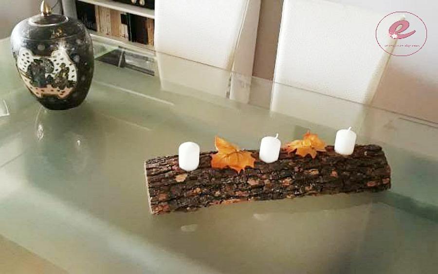 12 diy ξύλινες κατασκευές, κορμός κηροπήγιο