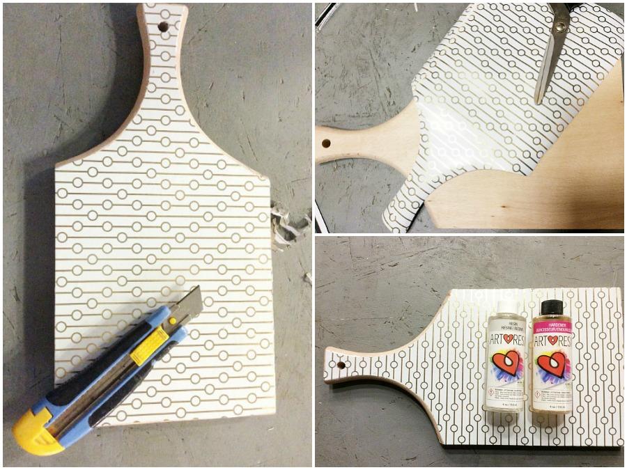 Πως να φτιάξεις απο ξύλο κοπής πλατώ σερβιρίσματος με χαρτί περιτυλίγματος και υγρό γυαλί