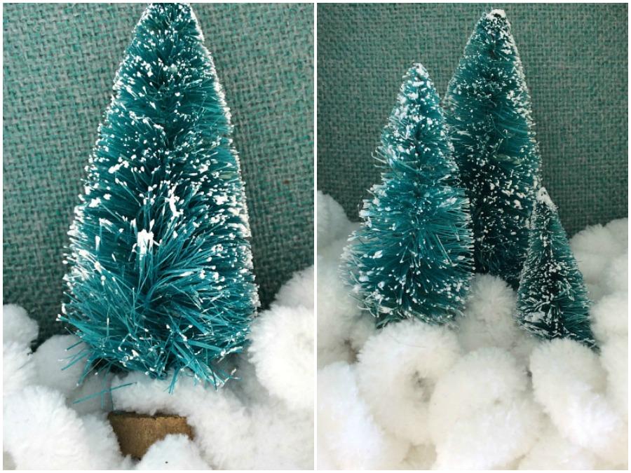 Το πιο εύκολο χριστουγεννιάτικο στεφάνι Brush trees on wreath