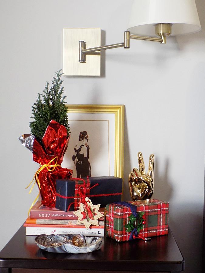 Christmas bedroom night stand decor