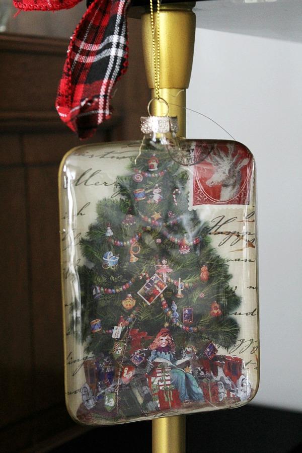 Christmas ornament flat bottle