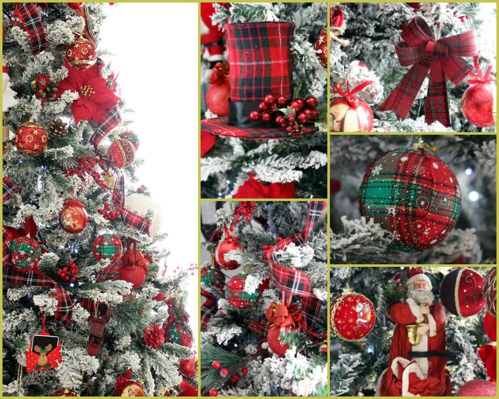 Christmas tree 2019, red plaid decorations | Κόκκινα Χριστούγεννα 2019, στολίδια χριστουγεννιάτικου δέντρου