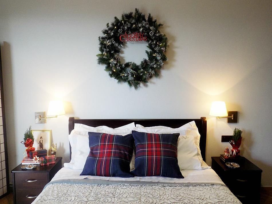 Χριστουγεννιάτικη διακόσμηση στην κρεβατοκάμαρα, xxl χριστουγεννιάτικο στεφάνι