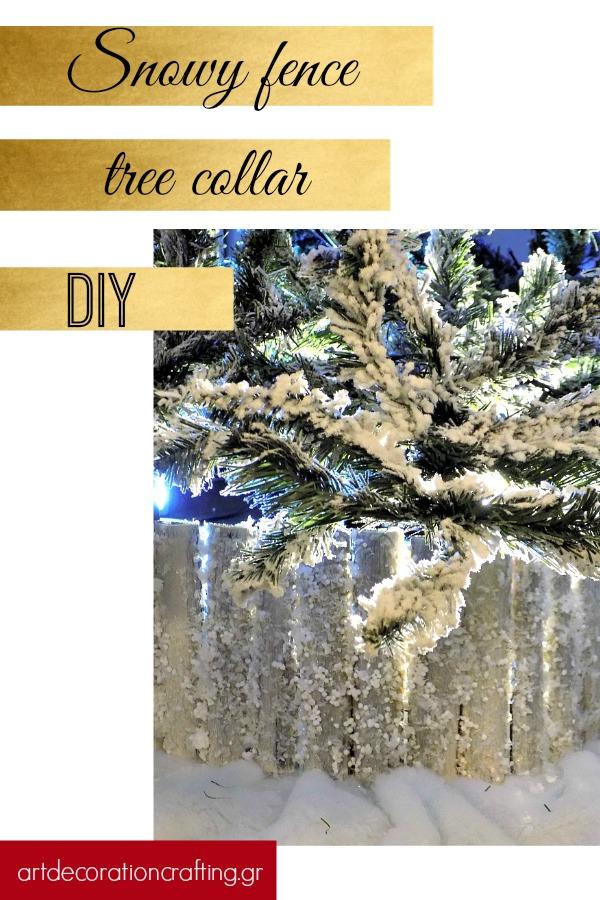 Snowy fence tree collar diy | Πως να φτιάξεις ένα χιονισμένο φράχτη για το χριστουγεννιάτικο δέντρο