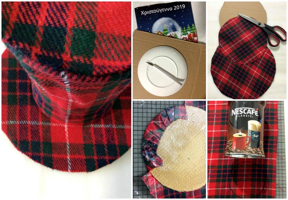 Ημίψηλο καπέλο από καρώ ύφασμα σαν χριστουγεννιάτικο στολίδι