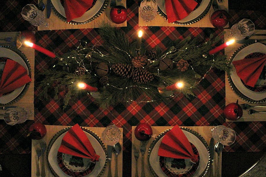 New Year's Eve red plaid tablescape