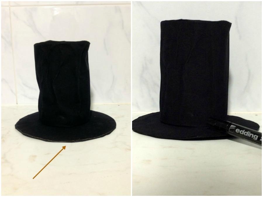 Μαύρο ημίψηλο καπέλο diy