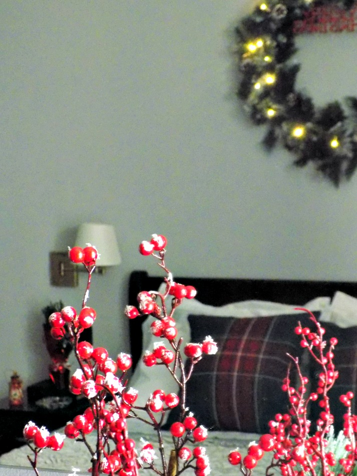 Red berries branches, Christmas master bedroom