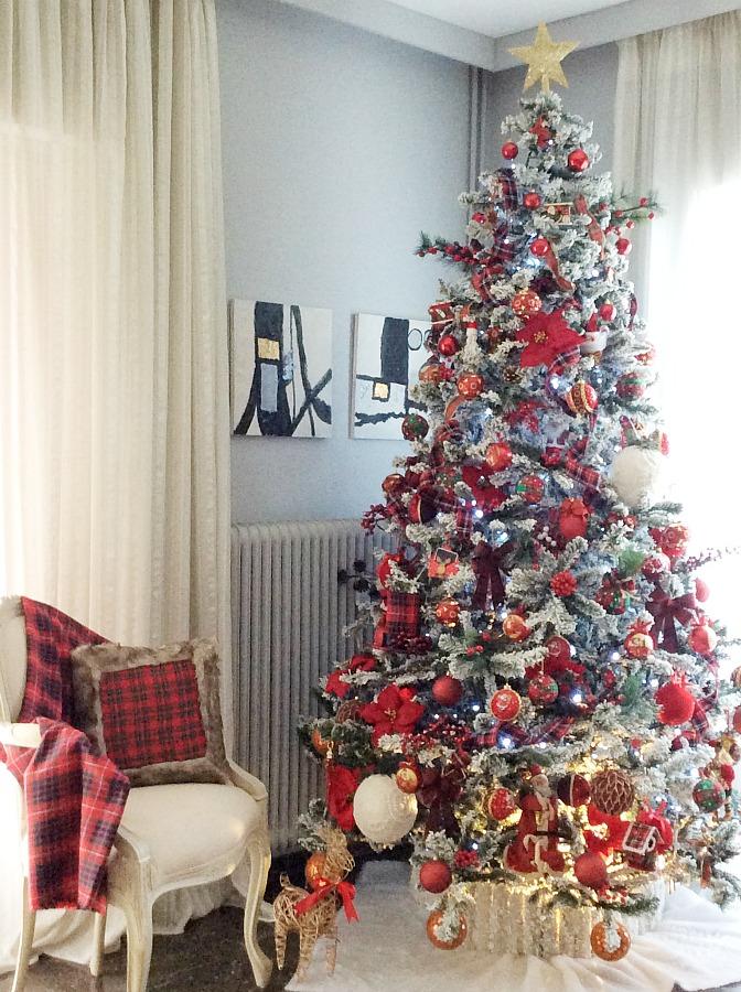 Red plaid christmas tree 2019 | Κόκκινα Χριστούγεννα 2019, διακόσμηση δέντρου σε κόκκινο καρώ