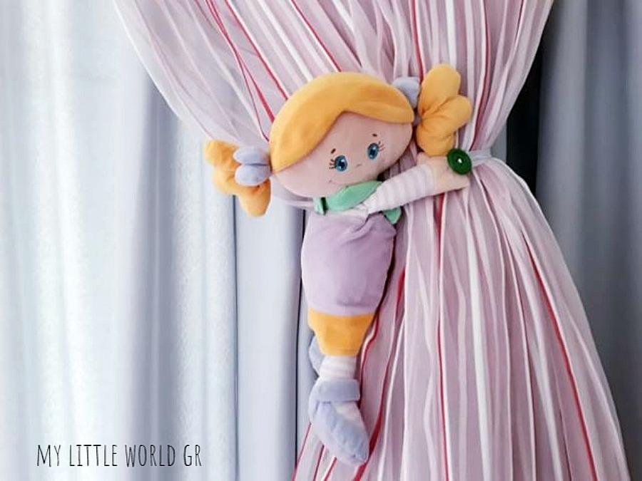 Παιδικά παιχνίδια στην διακόσμηση, πιάστρα κουρτίνας λούτρινη κούκλα