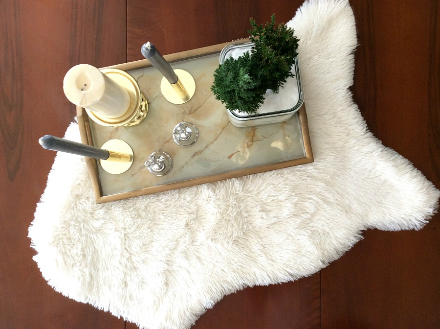 Faux fur rug on the dining table