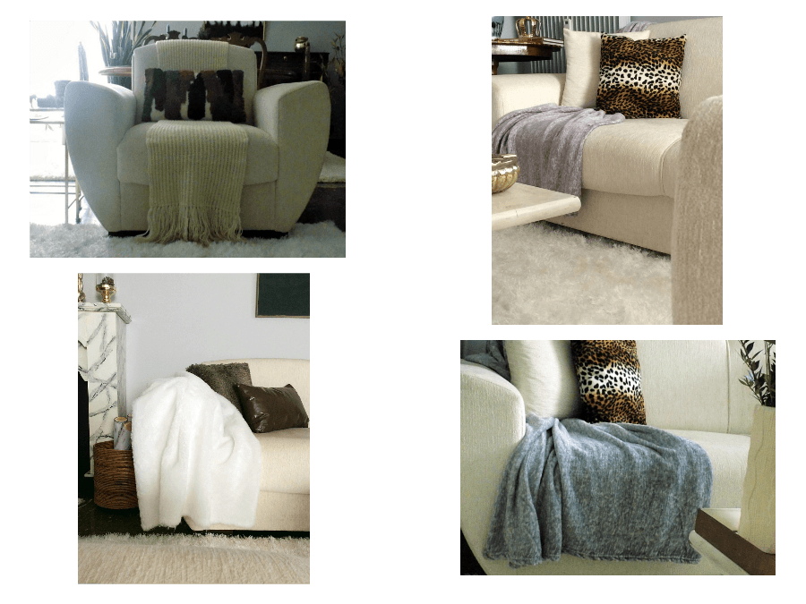 Fur throws and pillows perfect for winter decor