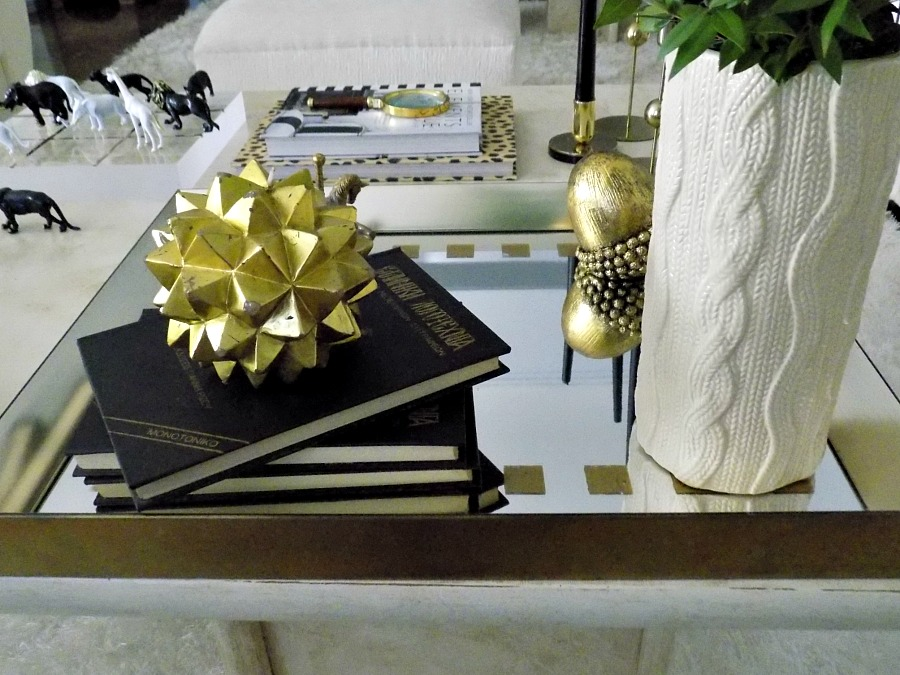 Nine tips to transition holday decor to winter, gold mirror coffee table tray diy