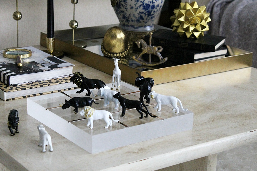 Black and white animals tic tac toe diy