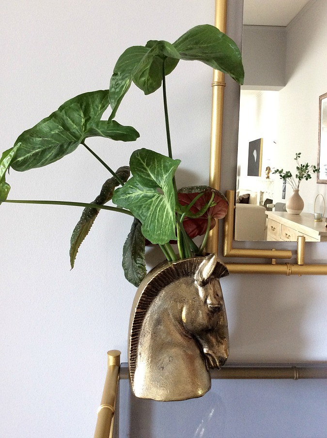 Monstera leaves in gold horse head vase, Nine tips to transition holiday decor to winter
