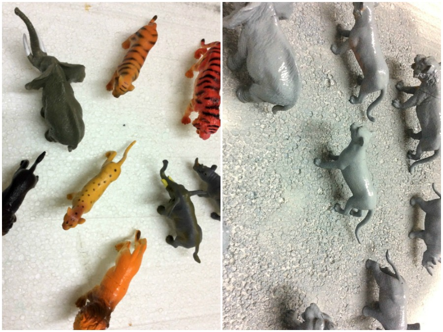 Plastic animal toys how to spray paint them