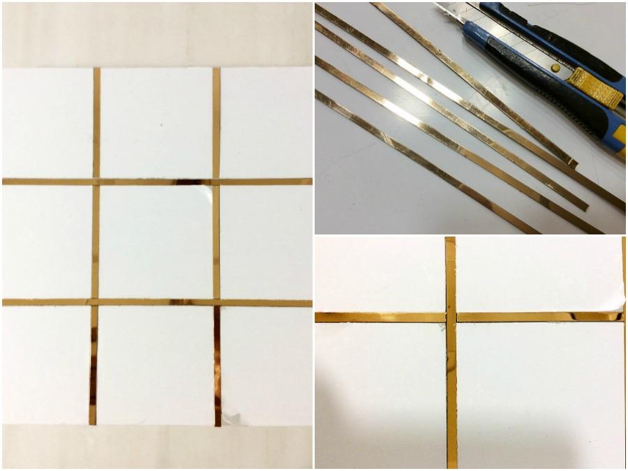 Μοντέρνα τρίλιζα, ακρυλική βάση με χρυσές λεπτομέρειες