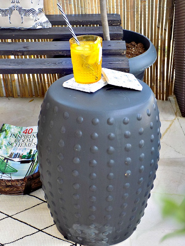 Basket magazine holder, ceramic garden stool