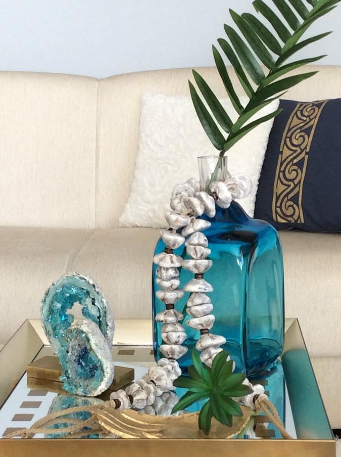 Blue flower vase, stone garland diy   Πέτρινη διακοσμητική γιρλάντα  diy