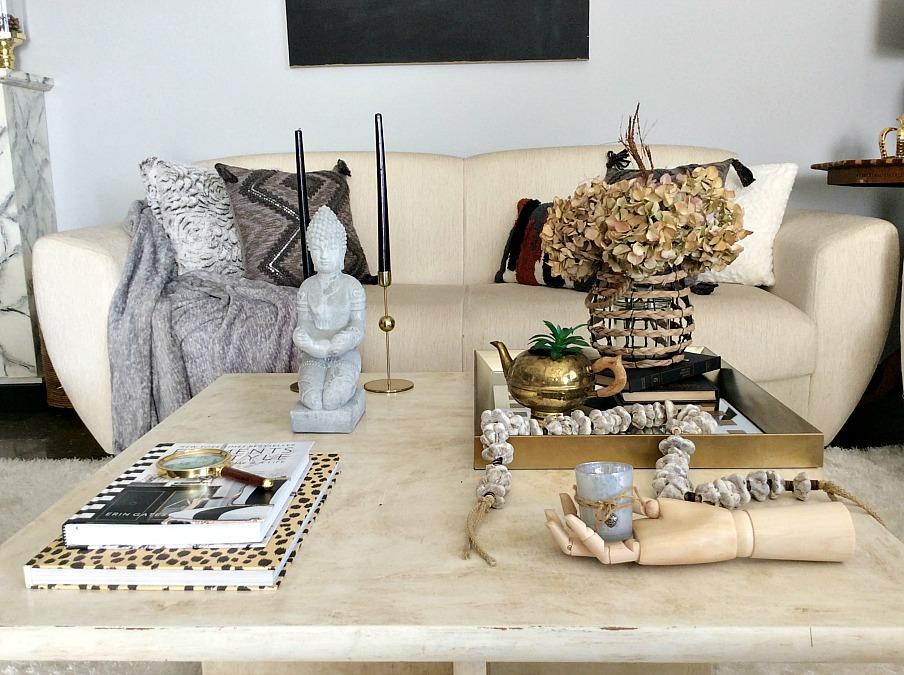 Oversized stone garland diy, earth tones coffee table decor
