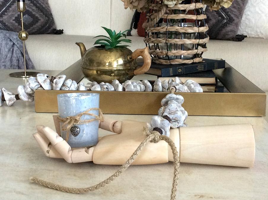 Wooden hand, votive, stone garland diy