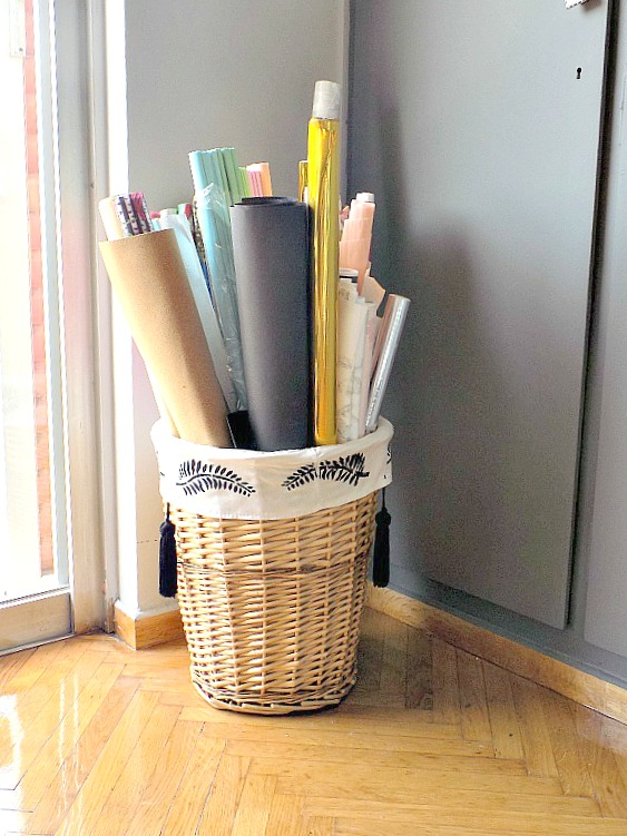 Wrapping paper storage basket